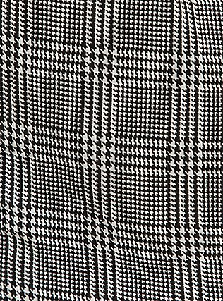 Plus Size Black & White Plaid Houndstooth Challis Romper, PLAID - BLACK, alternate
