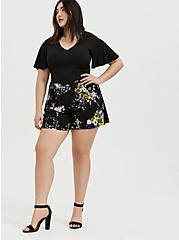 Black Floral Challis Flutter Sleeve Romper, FLORAL - BLACK, alternate