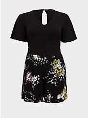 Black Floral Challis Flutter Sleeve Romper, FLORAL - BLACK, hi-res