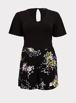 Plus Size Black Floral Challis Flutter Sleeve Romper, FLORAL - BLACK, flat