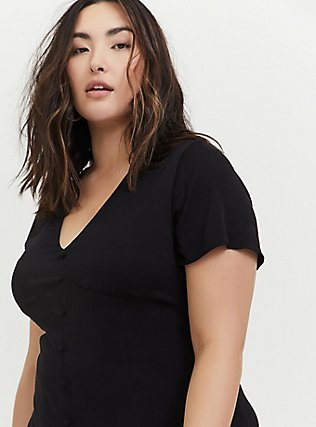 Plus Size Black Challis Button Midi Dress, DEEP BLACK, alternate
