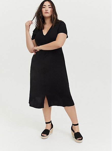 Plus Size Black Challis Button Midi Dress, DEEP BLACK, hi-res