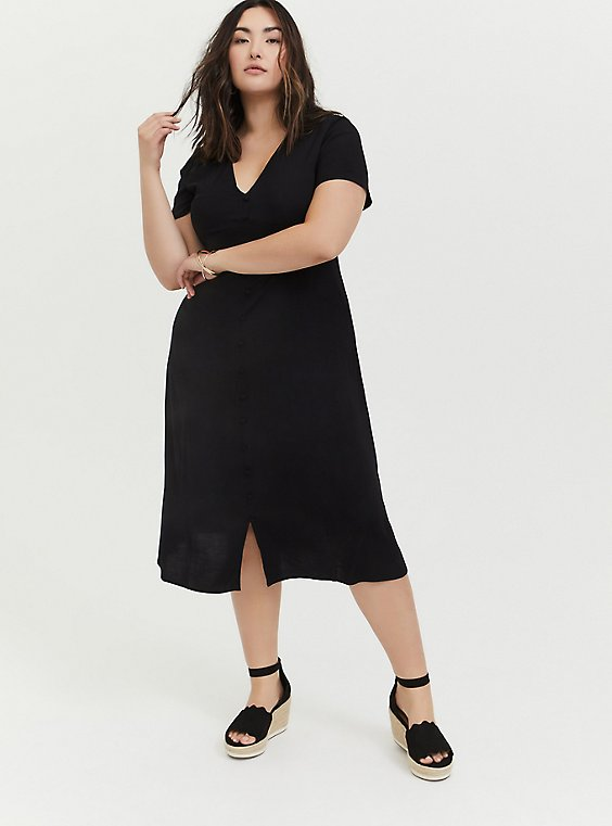 Plus Size Black Challis Button Midi Dress, , hi-res