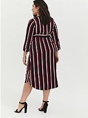 Plus Size Black & Fuchsia Pink Stripe Challis Self-Tie Midi Dress, , alternate