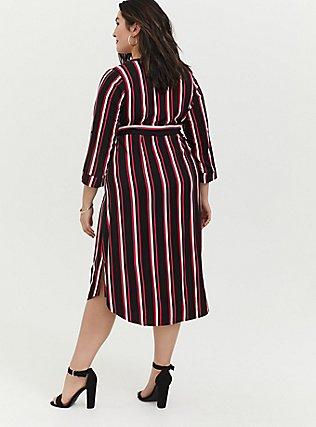 Plus Size Red Multi Stripe Challis Self-Tie Midi Dress, , alternate