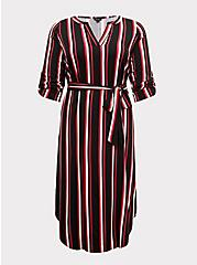 Plus Size Black & Fuchsia Pink Stripe Challis Self-Tie Midi Dress, , hi-res