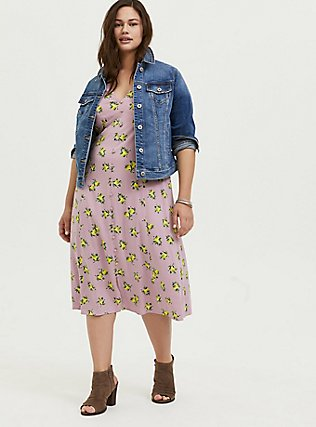Plus Size Mauve Pink Lemon Print Challis Button Midi Dress, LEMONS - PINK, alternate
