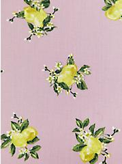 Mauve Pink Lemon Print Challis Button Midi Dress, LEMONS - PINK, alternate