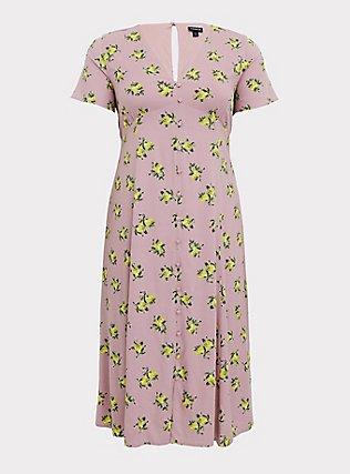 Mauve Pink Lemon Print Challis Button Midi Dress, LEMONS - PINK, flat