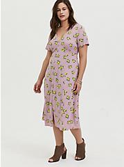 Mauve Pink Lemon Print Challis Button Midi Dress, LEMONS - PINK, hi-res