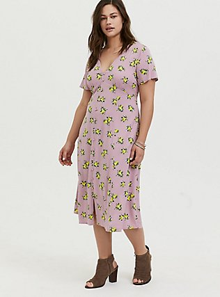 Plus Size Mauve Pink Lemon Print Challis Button Midi Dress, LEMONS - PINK, hi-res