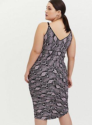 Mauve Pink Snakeskin Print Studio Knit Ruched Bodycon Dress, MAUVE, alternate