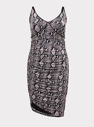 Mauve Pink Snakeskin Print Studio Knit Ruched Bodycon Dress, MAUVE, flat