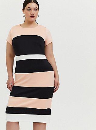 Plus Size Peach Colorblock Scuba Knit Sheath Dress, , alternate