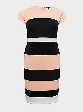 Plus Size Peach Colorblock Scuba Knit Sheath Dress, , flat