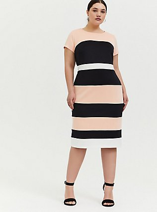 Plus Size Peach Colorblock Scuba Knit Sheath Dress, , hi-res