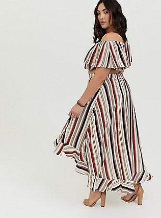 Plus Size Multi Stripe Challis Off Shouder Crop Top & Hi-Lo Skirt Set, STRIPE - WHITE, alternate