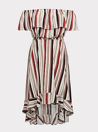 Plus Size Multi Stripe Challis Off Shouder Crop Top & Hi-Lo Skirt Set, STRIPE - WHITE, flat