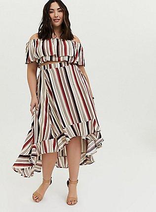Plus Size Multi Stripe Challis Off Shouder Crop Top & Hi-Lo Skirt Set, STRIPE - WHITE, hi-res