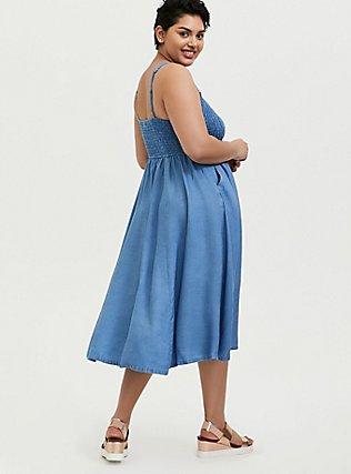Plus Size Denim Button Pinafore Midi Dress, MEDIUM WASH, alternate