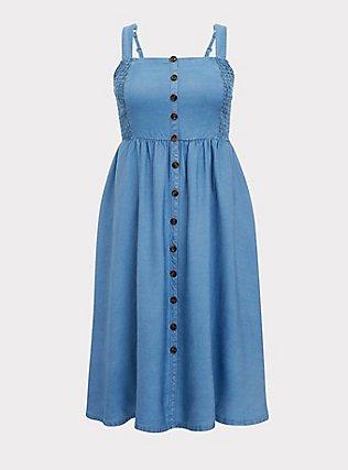 Plus Size Denim Button Pinafore Midi Dress, MEDIUM WASH, flat