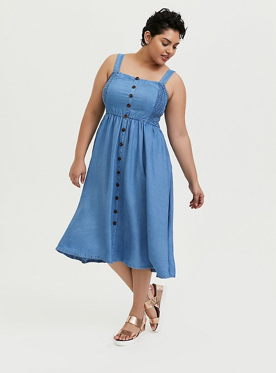Denim Button Pinafore Midi Dress, , hi-res