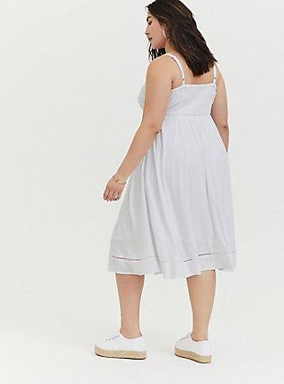 White Stretch Woven Crochet Inset Button Midi Dress, BRIGHT WHITE, alternate