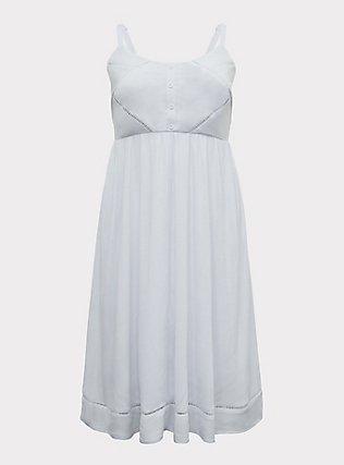 White Stretch Woven Crochet Inset Button Midi Dress, BRIGHT WHITE, flat