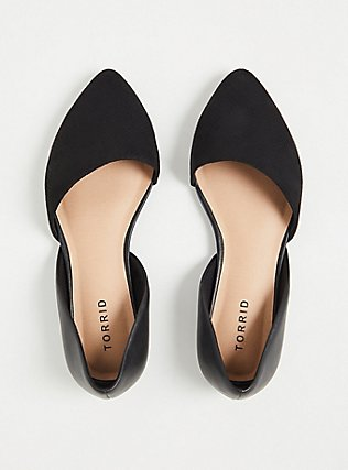 Black Faux Suede & Faux Leather Perforated D'Orsay Flat (WW), BLACK, alternate