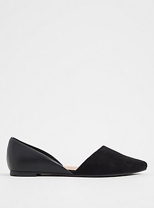 Plus Size Black Faux Suede & Faux Leather Perforated D'Orsay Flat (WW), BLACK, alternate