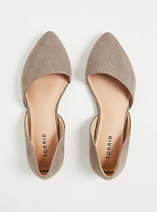 Taupe Faux Suede & Faux Leather Perforated D'Orsay Flat (WW), TAN/BEIGE, alternate