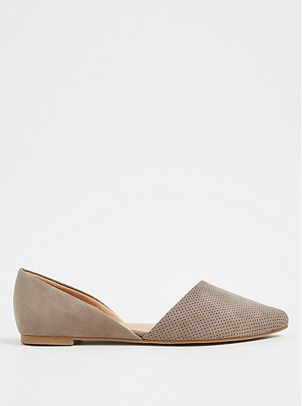 Taupe Faux Suede & Faux Leather Perforated D'Orsay Flat (WW), , alternate