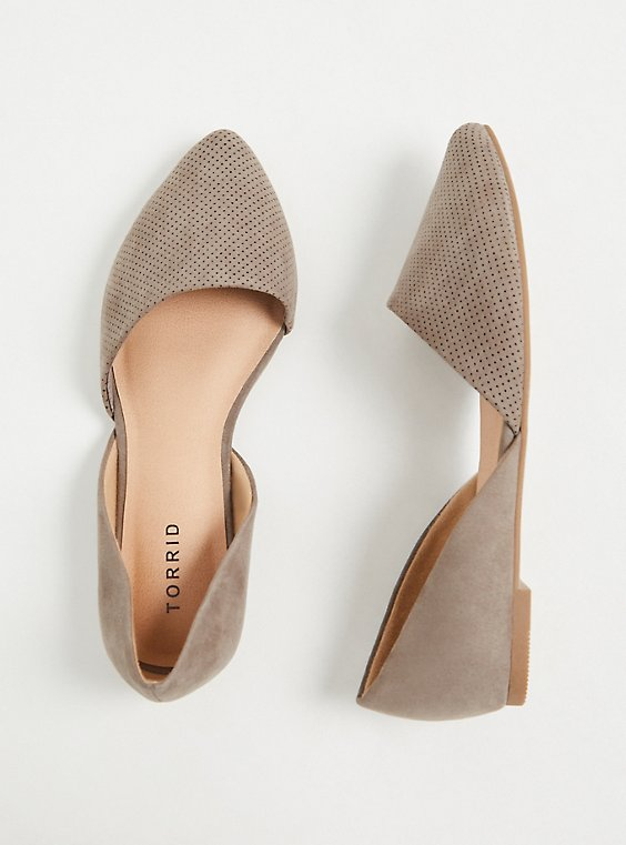 Taupe Faux Suede & Faux Leather Perforated D'Orsay Flat (WW), , hi-res