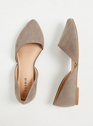 Taupe Faux Suede & Faux Leather Perforated D'Orsay Flat (WW), TAN/BEIGE, hi-res