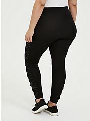 Premium Legging - Faux Leather Lattice Side Black, BLACK, alternate