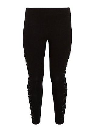 Premium Legging - Faux Leather Lattice Side Black, BLACK, flat