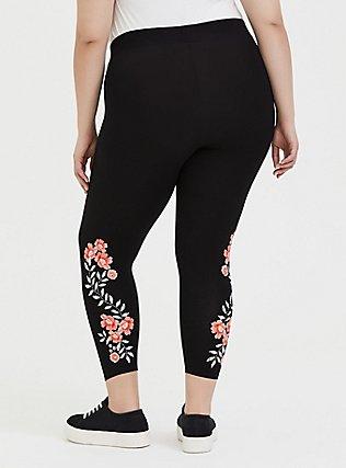 Crop Premium Legging - Floral Embroidered Print Black, EMBROIDERED FLORAL, alternate