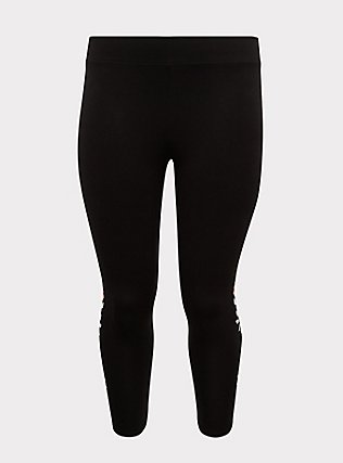 Crop Premium Legging - Floral Embroidered Print Black, EMBROIDERED FLORAL, flat