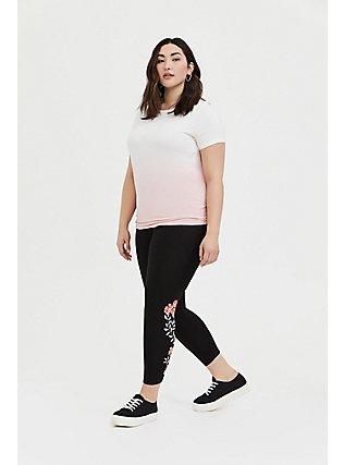 Crop Premium Legging - Floral Embroidered Print Black, EMBROIDERED FLORAL, hi-res
