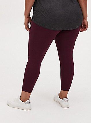 Crop Premium Legging - Burgundy Purple, WINETASTING, alternate