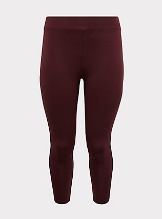 Crop Premium Legging - Burgundy Purple, WINETASTING, flat