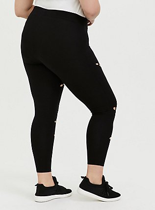 Crop Premium Legging - Hole Black, BLACK, alternate