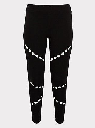 Crop Premium Legging - Hole Black, BLACK, flat