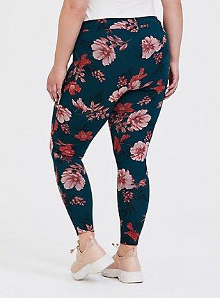 Premium Legging - Floral Orange & Dark Teal, FLORAL - TEAL, alternate