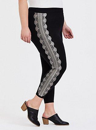 Crop Premium Legging - Graphic Lace Black , MULTI, alternate