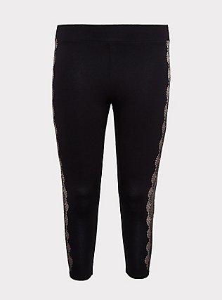Crop Premium Legging - Graphic Lace Black , MULTI, flat