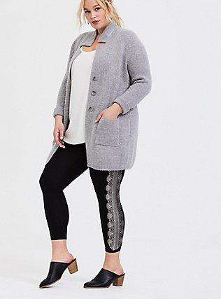Crop Premium Legging - Graphic Lace Black , MULTI, hi-res