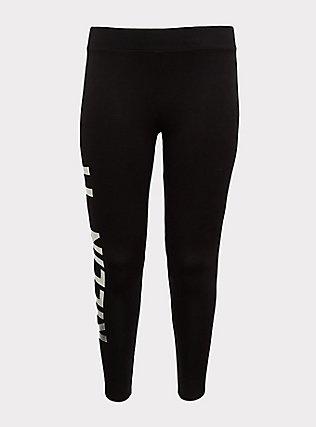 Premium Legging - 'Killin It' Metallic Silver & Black, MULTI, flat