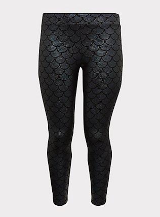 Premium Legging - Mermaid Scale Iridescent Black, MULTI, flat