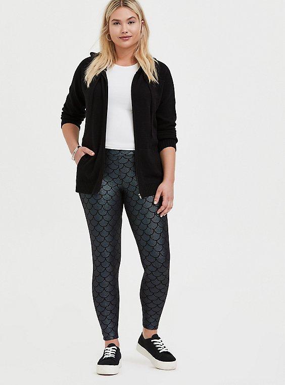 Plus Size Premium Legging - Mermaid Scale Iridescent Black, , hi-res